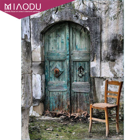 Miaodu 3D Door Landscapes DIY Embroidery Diamond Painting Full 5D Cross Stitch Kits Mosaic Paintings Wall Sticker Wedding gift Pakistan