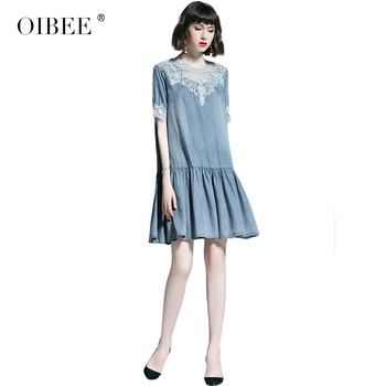 OIBEE2019 summer women's new lace gentle fairy female short-sleeved midi dress dress