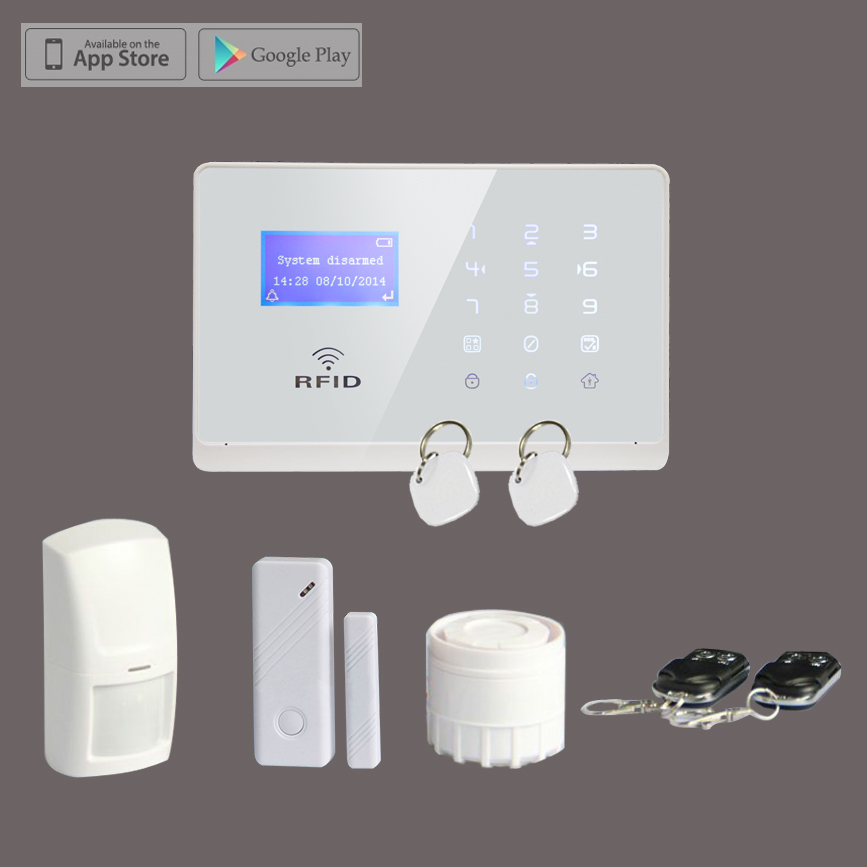 Wireless GSM SMS RFID Smart Home Alarm System Remote Control with LCD Display Touchscreen,Free Shipping new design wireless rfid key tag sms notice for home gsm alarm system s3b 433mhz