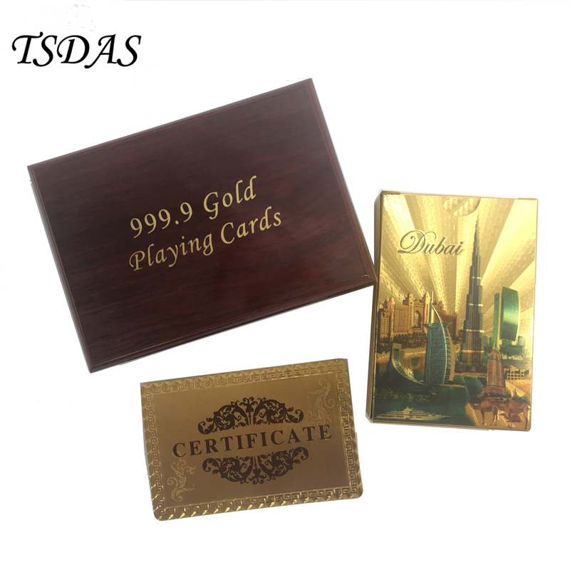 Dubai Hotel 24k Gold Plated Playing Cards Luxury Design Full Poker Deck With Wooden Box Birthday Gift