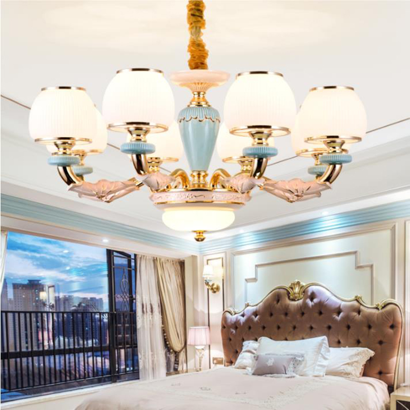Us 282 08 14 Off Italian Style Ceramic Led Chandelier Lighting Luxury Zinc Aolly Drop Lights Living Room Dinning Gl In
