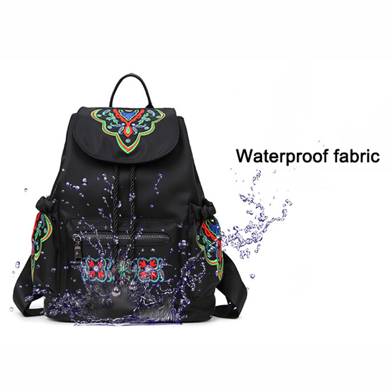 SUDS Brand Women Vintage Waterproof Oxford Backpack High Quality Embroidery School Bags Female Large Capacity Travel Backpacks