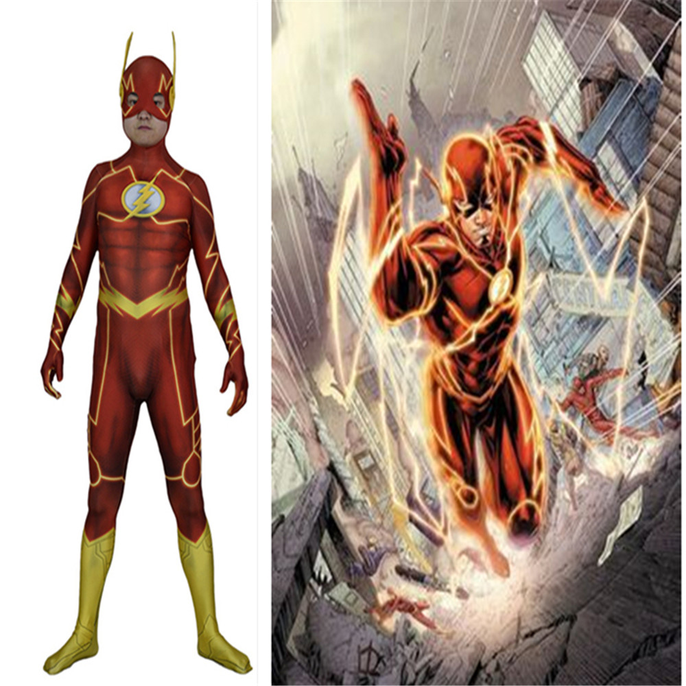 DC Anime The Flash Costumes The Flash Jumpsuits Cosplay Rave party Men's Bodysuit Tights 3D Printing Lightning Men's Tights
