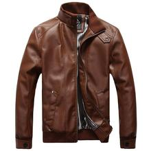 Spring Autumn Men Motorcycle Leather Jackets Coffee Black Male Fashion Slim Business Casual Coats Brand clothing British style