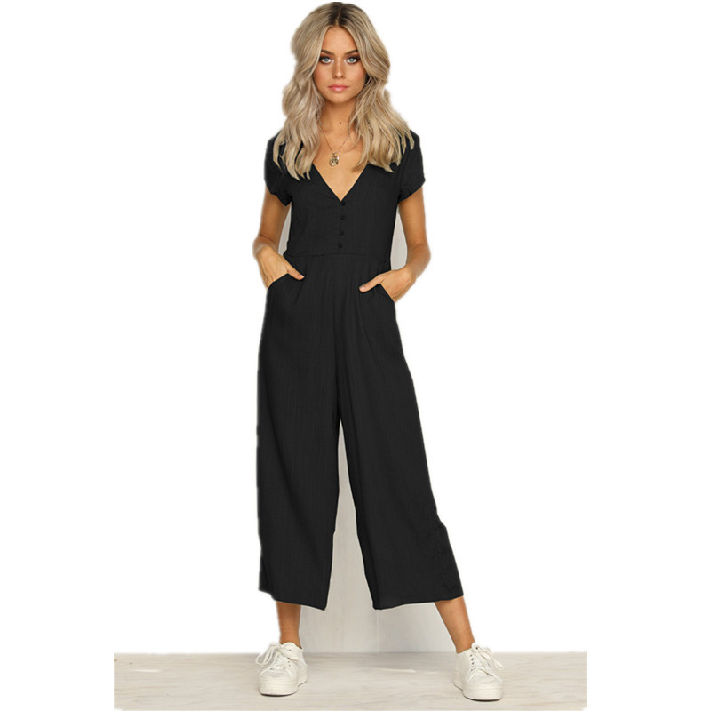 New 2019 Women Summer Short Sleeve Casual Jumpsuits Deep V-Neck Black White Green Loose Rompers Female Backless Button Jumpsuit
