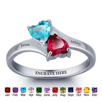 Personalized Infinite Love Promise Ring Double Heart Stones 925 Sterling Silver Jewelry Free Gift Box Silveren