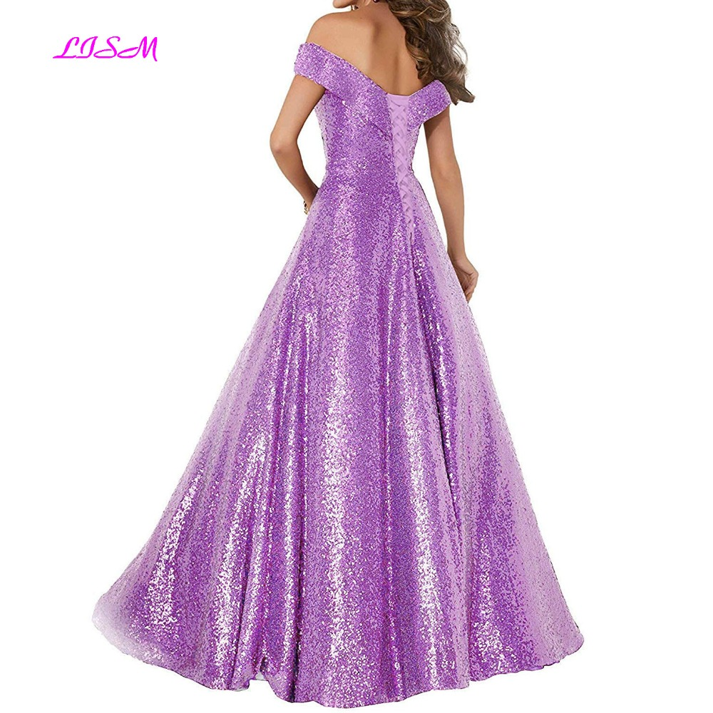Off Shoulder Sequins Evening Dresses A-Line Empire Waist Prom Party Dress V-Neck Satin Long Evening Formal Gowns robe de soiree