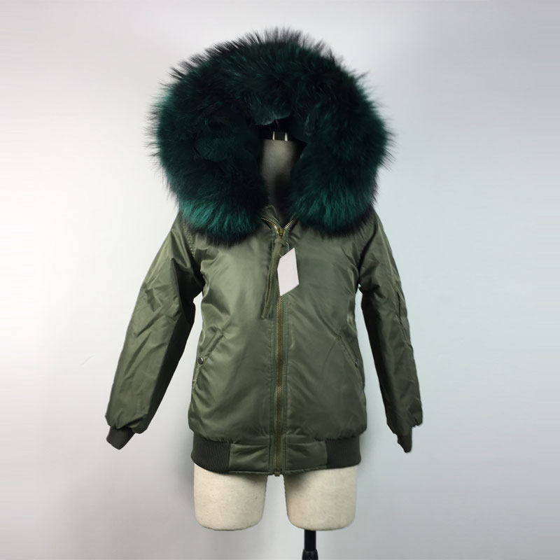 WaterProof Bomber Jacket Winter Spring emerald green Warming thicken fur Bombers