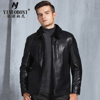 Leather Jacket Men Coats Men's Wear Zipper Lapel Coat Plus velvet thickening Genuine Leather Clothing Male LJ8816