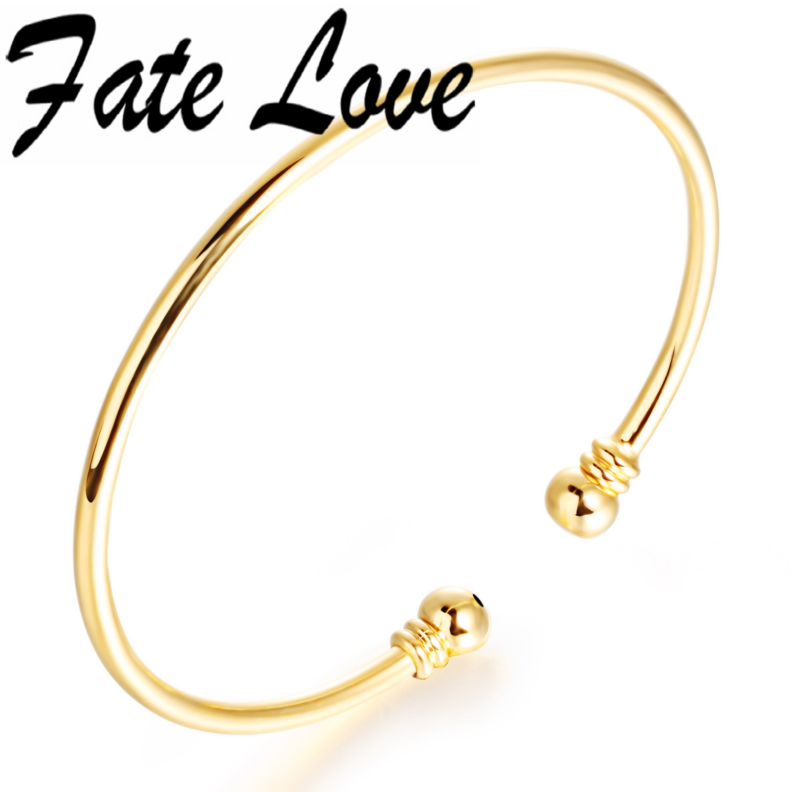 Fate Love Fashion Jewelry Thin Cuff Bracelets Bangles Gold Simple Open Bangle for Elegant Lady Adjustable Birthday Gift FL456