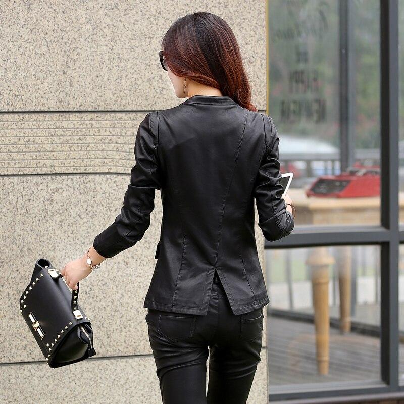 En Green Femme Red Cuir Costume Veste Manteau Printemps Black Casual black Mince Noir Pu Femmes Automne Moto Blazer Z0qBX1