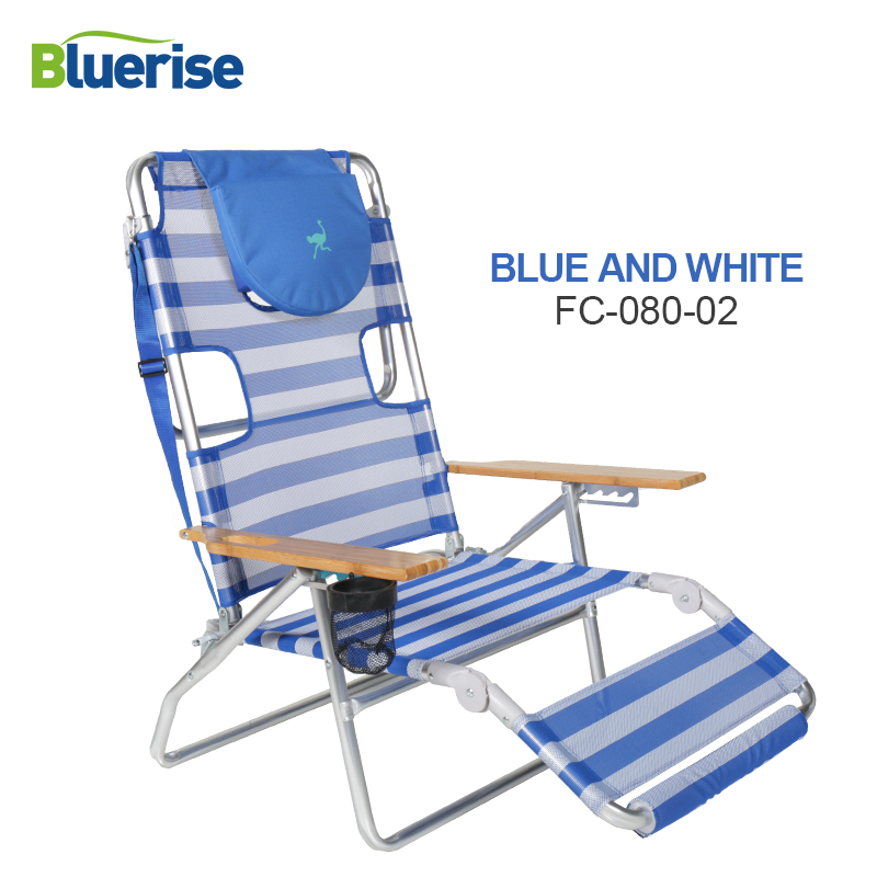BLUERISE 3-en-1 Chaise De Plage/Transat/Chaise Facilement Convertit en bois accoudoir tasse titulaire carry sangle Léger Durable fois FC080