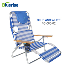 Furniture - Outdoor Furniture - BLUERISE 3-in-1 Beach Chair/Lounger/Chaise Easily Converts Wooden Arm Rest Cup Holder Carry Strap Lightweight Durable Fold FC080