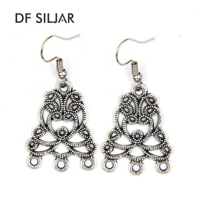 20pc Antique Silver Connector Charms Earrings Diy Findings Jewelry Vintage Craft Earring Making Supplies Accessories Y1553
