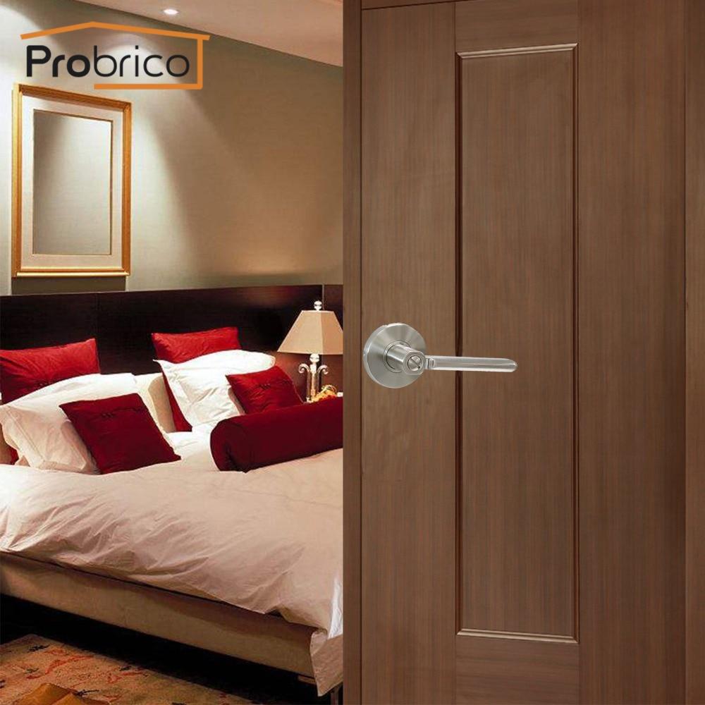 Probrico Privacy Keyless Door Locks Stainless Steel Satin Nickel Door Knob Door Handle For Bathroom Interior Door DL1637SNBK