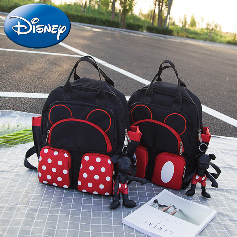 Disney New Travel Backpack Cute Cartoon Mickey Mouse Minnie Diaper Key Ring Waterproof Maternity Baby Mom Storage Hanging Bags