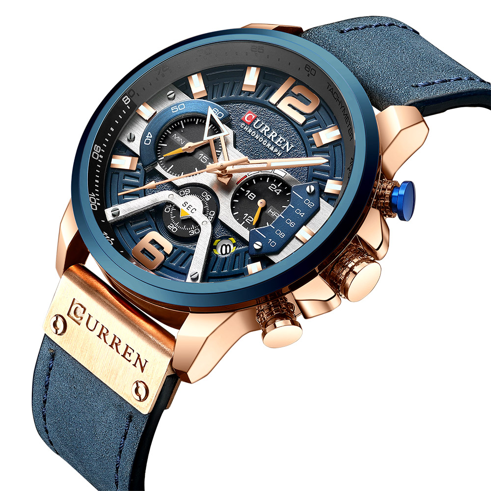 CURREN 8329 Brand Luxury Mens Watches Leather Sports Watch Men Fashion Chronograph Quartz Man Clock Waterproof Relogio Masculino