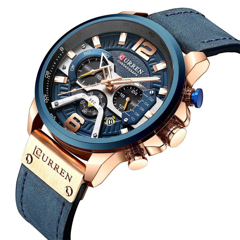CURREN 8329 Brand Luxury Mens Watches Leather Sports Watch Men Fashion Chronograph Quartz Man Clock Waterproof Relogio Masculino