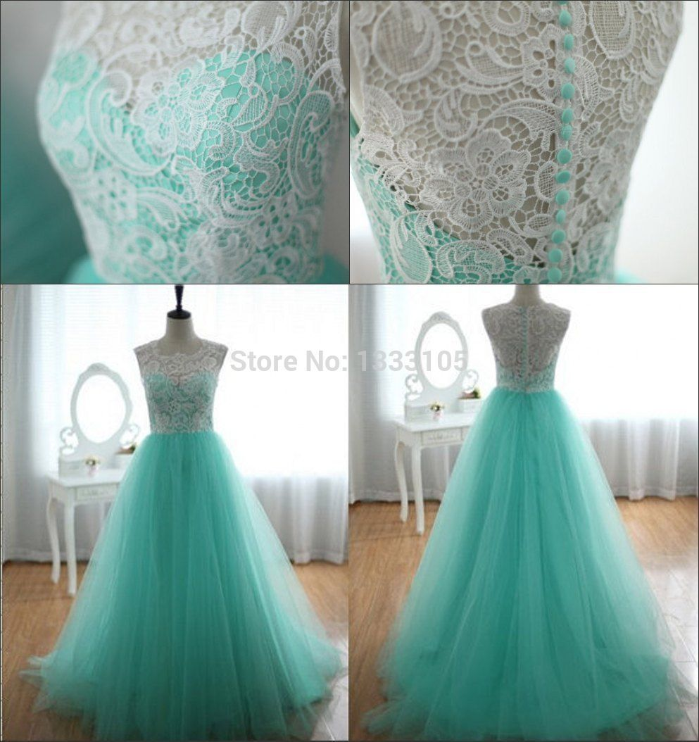 Elegant A-line Blue Long Lace Tulle Evening Dresses Prom Party Formal Size 6 -16 Stock - flawless*dresses store