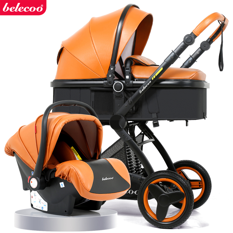 Belecoo Baby Stroller High Landscape Baby Stroller Basket Can Sit Lying Folding 3 In 1 Leather Baby Stroller With Car Seat