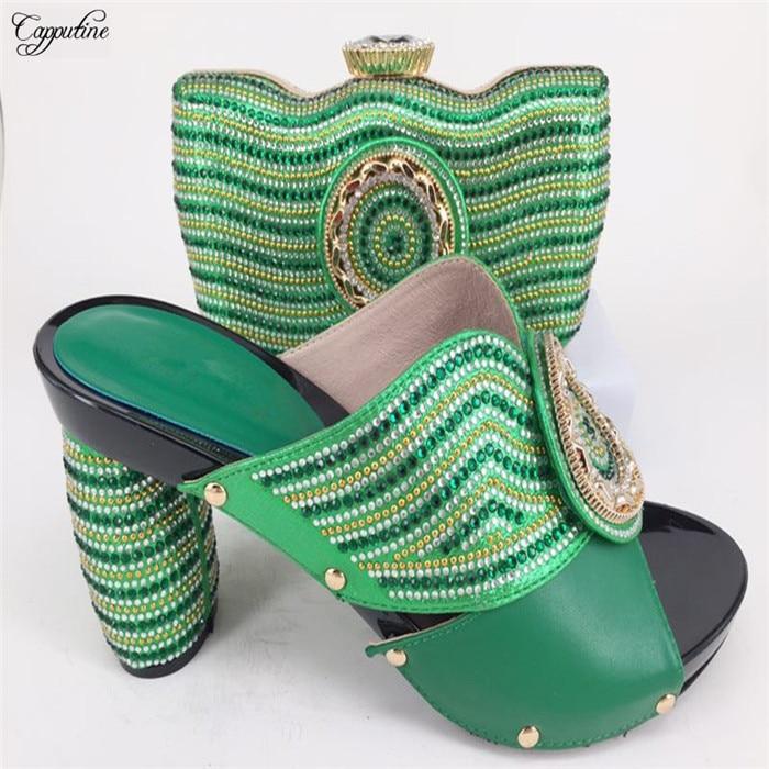 Горячая Распродажа Стразы дизайн высокий каблук сандалии обувь и сумки наборы для вечерние 226-7 в зеленый высота каблук 11 см