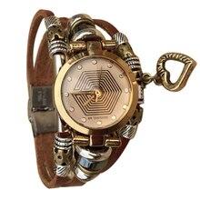 Mujeres de La Manera creativa Reloj de Pulsera Reloj de Pulsera de Cuero Con Retro Dial Negro Reloj de Cuarzo de Regalo, relogio feminino montre femme
