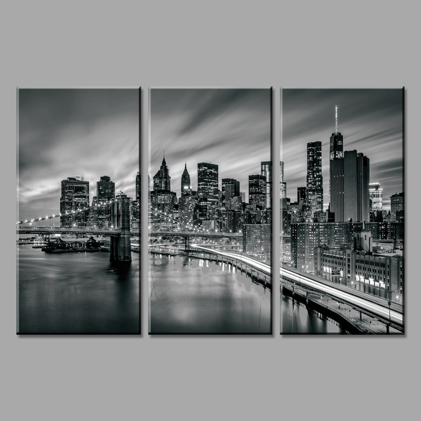 3 piese orașul New York Tablouri modulare pictură pe pânză Artă - Decoratiune interioara - Fotografie 3