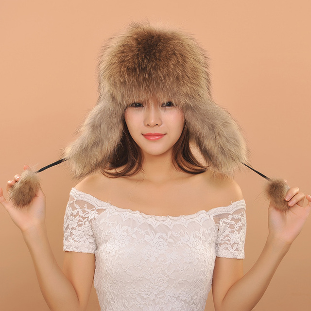 2016 Women Warm Winter Fox Fur Earflaps Leather Hats For Female Fur Balls Ladies Cap