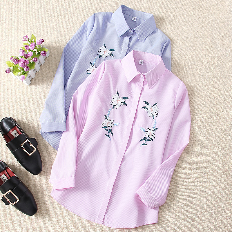 Girls Shirt Informal 2019 Trend Tops Feminine Blouses Appliques Floral Stripe Flip-down Collar Shirt Lengthy Sleeve Clothes Blusas Blouses & Shirts, Low cost Blouses & Shirts, Girls Shirt Informal...
