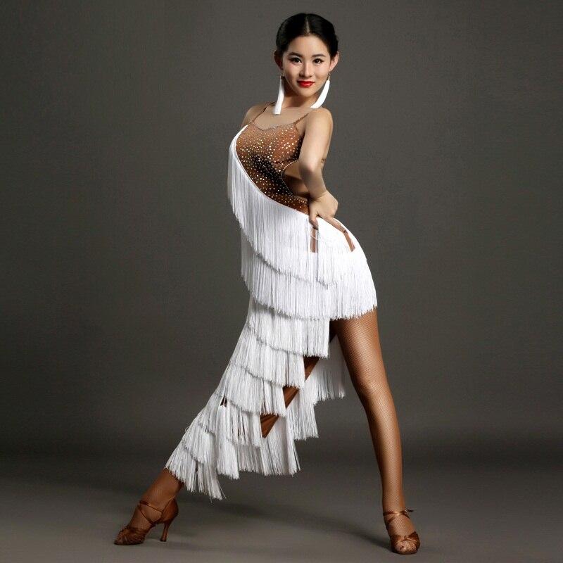Branco mulheres borla latina vestido de dança Latina vestido mulheres dançam vestido samba sexy trajes rumba salsa latin vestido da dança