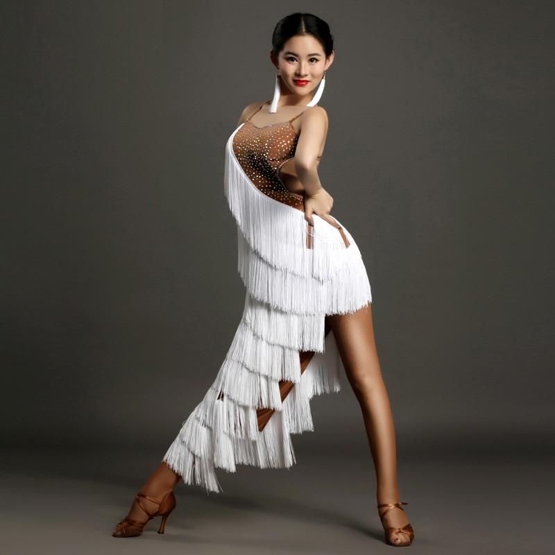 Robe latine femme gland blanc danse latine robe femme danse robe samba sexy rumba costumes latin salsa robe danse