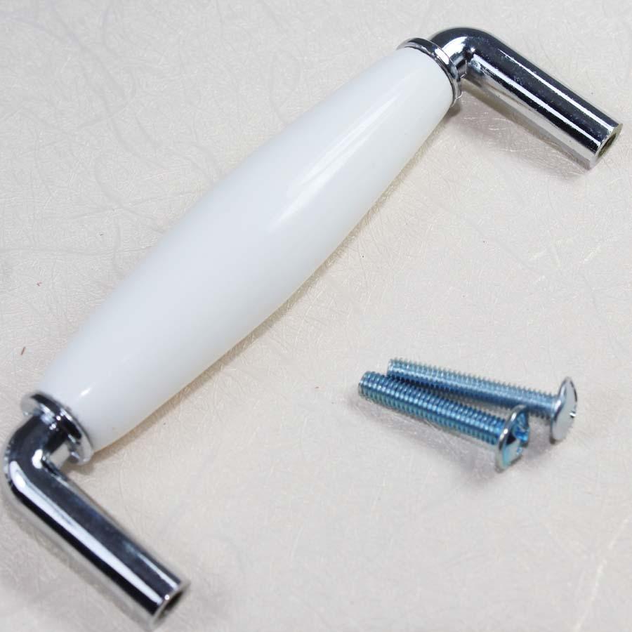 ⑧128mm White Silver Dresser Pulls Drawer Pull Handle Ceramic ...