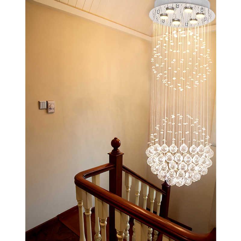 Современная Rain Drop двойной большой хрустальные шары цилиндр заподлицо Потолочная люстра светильник для Обеденная