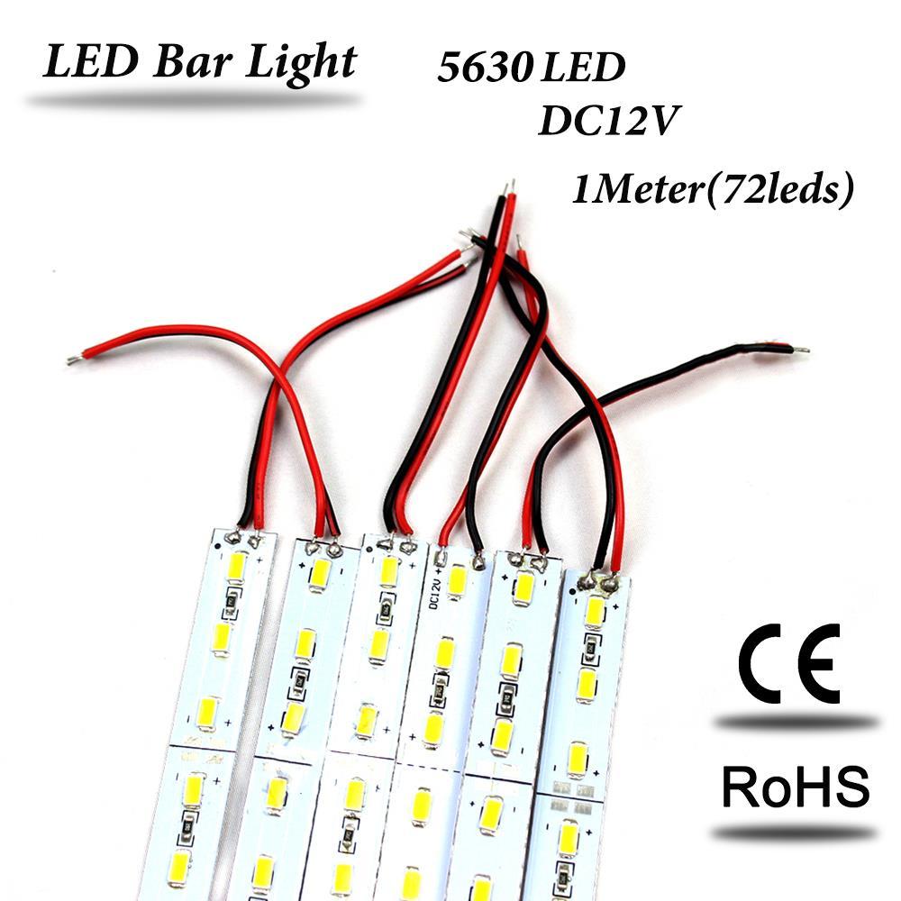 10pcs*100cm Factory Wholesale 1M DC 12V 72 SMD 5630 LED Hard luces LED Strip Bar Light non waterproof