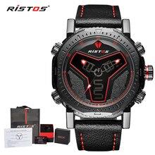 RISTOS многофункциональные кожаные часы мужские модные спортивные кварцевые часы Reloj Masculino Hombre цифровой аналоговый светодиодный наручные часы 9341