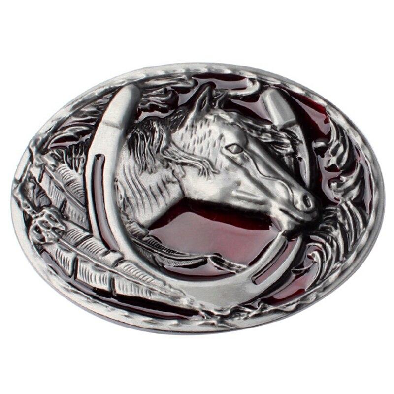 Western Cowboy Style Belt Buckle Horse Head Horserace Metal Belt Buckle Animal Belt Accessories Horse Leather Belts Head
