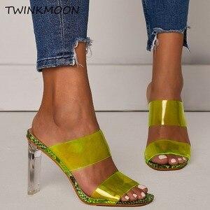 Image 2 - Chaussures claires talons hauts PVC bout ouvert sans lacet femmes néon sandales Sexy fête Transparent 2019 chaussures dété grande taille 35 42