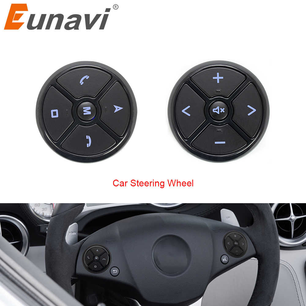 Eunavi ユニバーサル車のステアリングホイールコントローラ 4Key 音楽 DVD GPS ナビゲーション車のステアリングホイールラジオリモートコントロールボタン