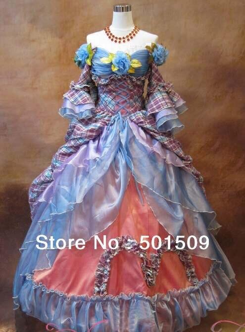 luxusní dvůr dlouhé středověké renesanční plesové šaty princezna šaty s kloboukem Evropa královská královna květinové victoria / gothic cosplay šaty