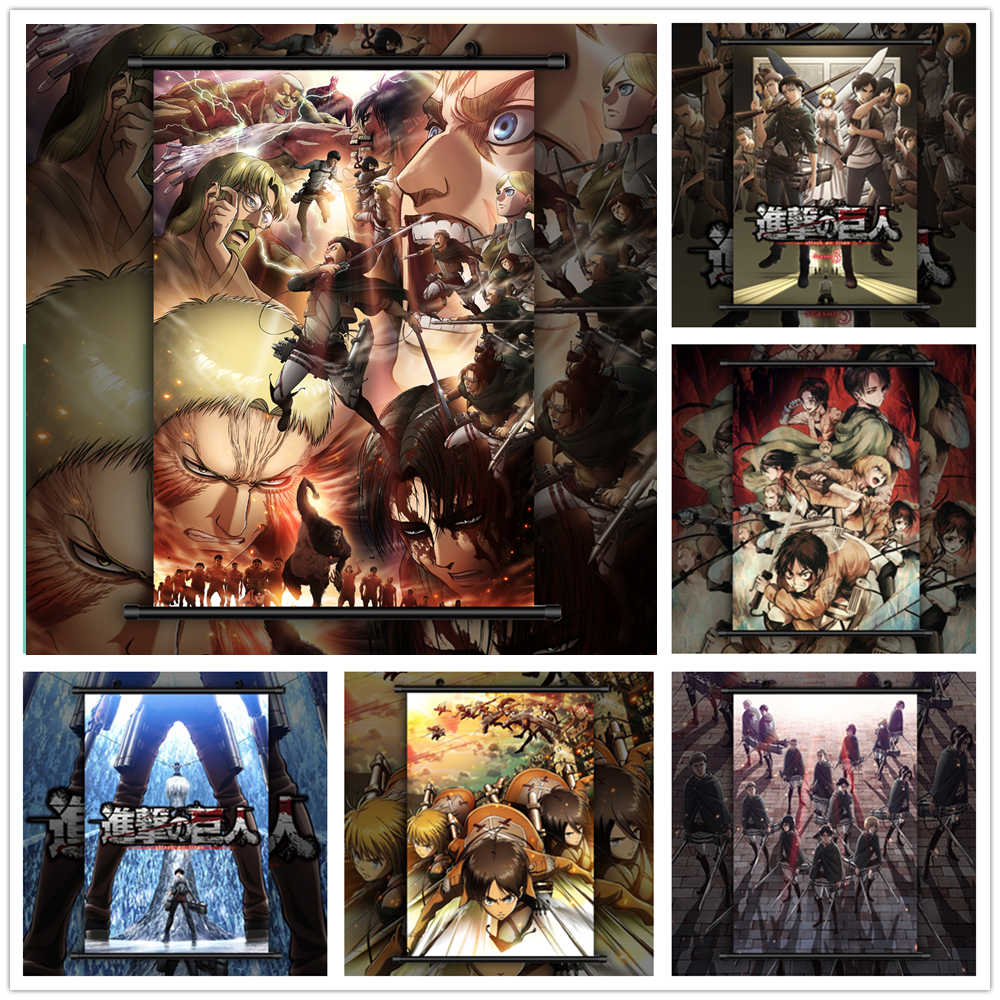 Attack On Titan Poster Style Eren Levi Mikasa Armin Anime Manga Wall Poster Scroll A Painting Calligraphy Aliexpress