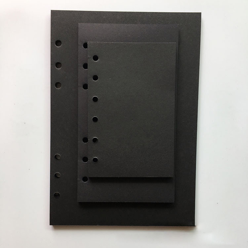 A5 A6 A7 MUJI Style Blank Black Paper Loose Leaf notebook Spiral Inner Page Refill note book journal travel planner Dairy diary standard a5 style leather notebook inside loose leaf page have 6 hole on page paper insde 60 pcs quality kraft blank page