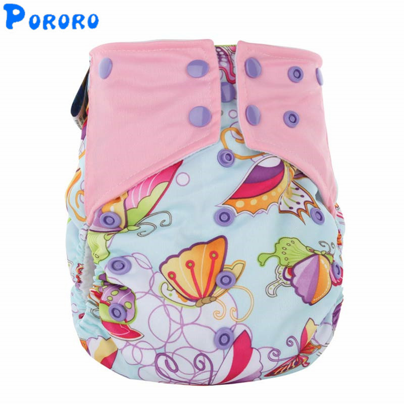 1 Pcs Reusable AI2 Cloth Diapers Nappy Cover Pockets Double Gusset Baby Girls Boys Cartoon Print Cloth Diapers Nappy