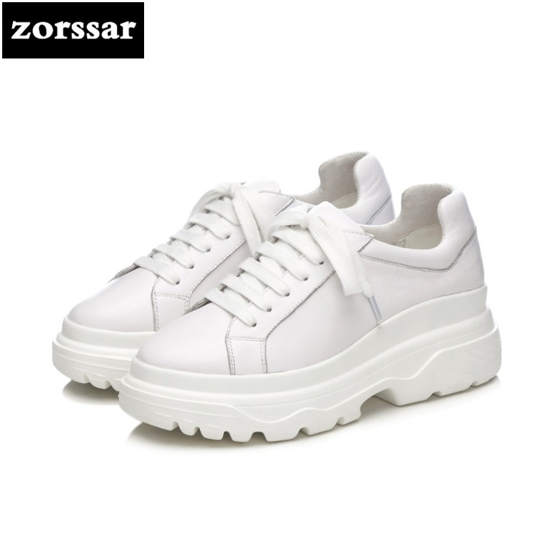 {Zorssar} 2018 New Genuine Cow Leather womens shoes casual flat platform creeper high quality Women sneakers Casual Flats shoes wolf who 2018 spirng winter women genuine leather shoes high top women platform shoes creeper platform sneakers wedge h 181