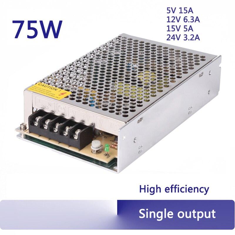 12 V, 24 V CC 5 V, 15 A, 75 W Transformador Supernight