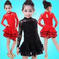 3 28 Children Latin Dance Dress Long Sleeve Lace Vestido Kids Latin Dresses Girls Stage Performance