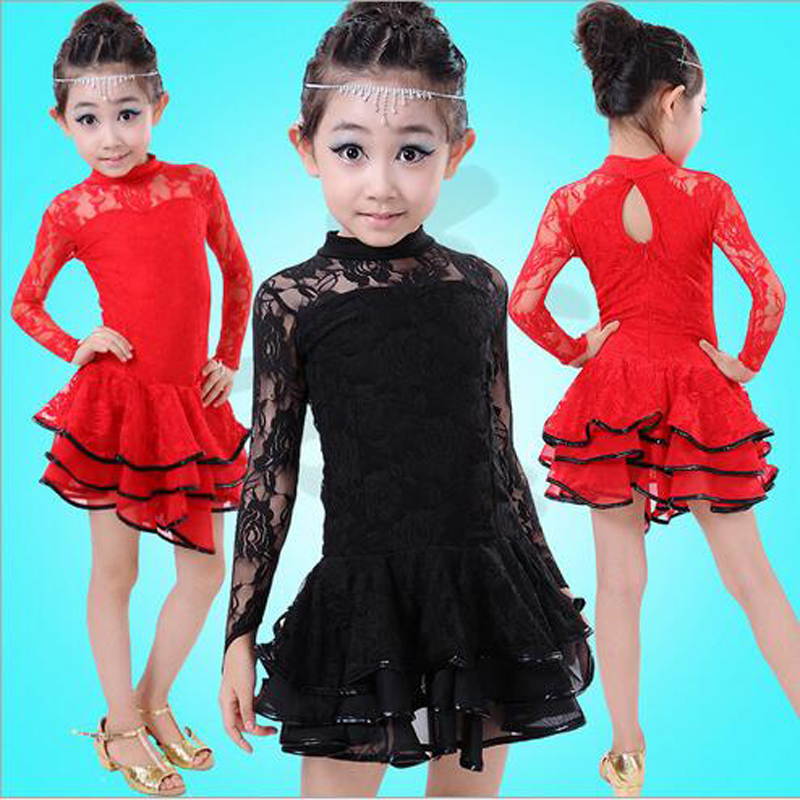 3.28 Children Latin Dance Dress Long Sleeve Lace Vestido Kids Latin Dresses Girls Stage Performance Dancing Dress