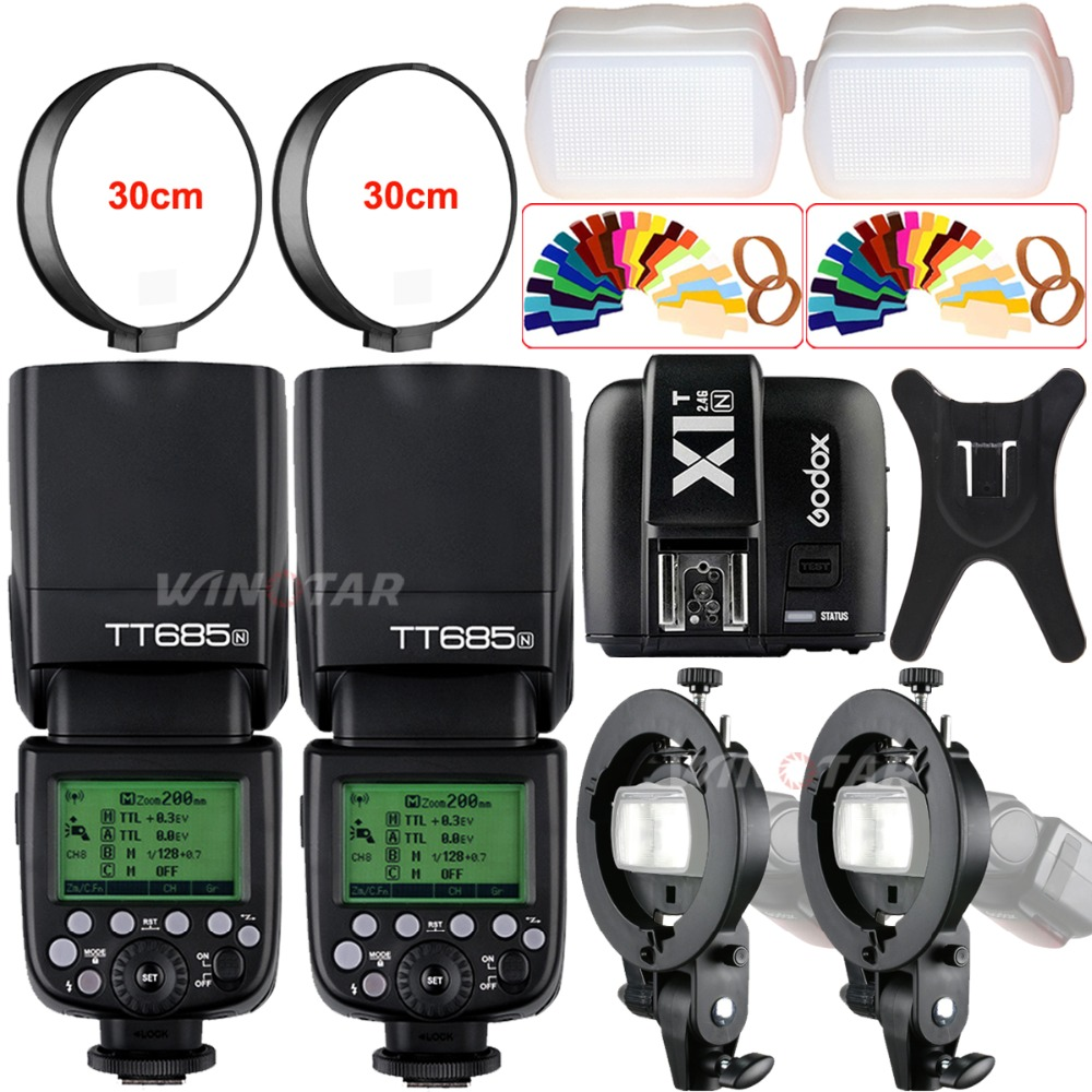 2X Godox TT685N 2.4G Wireless HSS 1/8000s i-TTL Camera Flash Speedlite + X1T-N Trigger + Bowens Bracket for Nikon DSLR Cameras w extra battery godox v860n speedlite i ttl speedlight flash light high speed godox ft 16s wireless trigger kit for nikon dslr