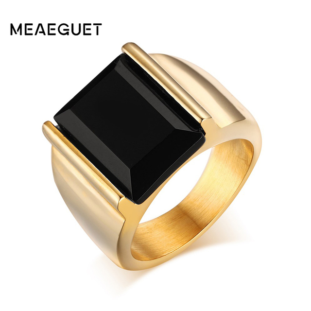 meaeguet vintage black onyx stone rings gold color stainless steel wedding band rings for men - Onyx Wedding Ring