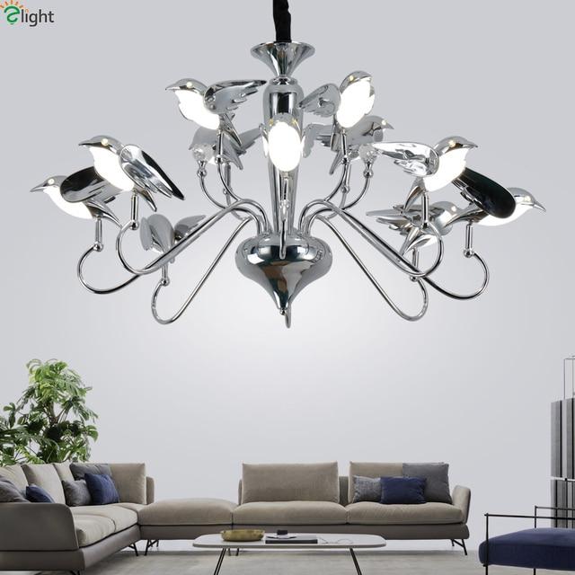 Modern Chrome Bird Led Pendant Chandelier Lights Acrylic Dining Room Led Chandeliers  Lighting Living Room Hanging