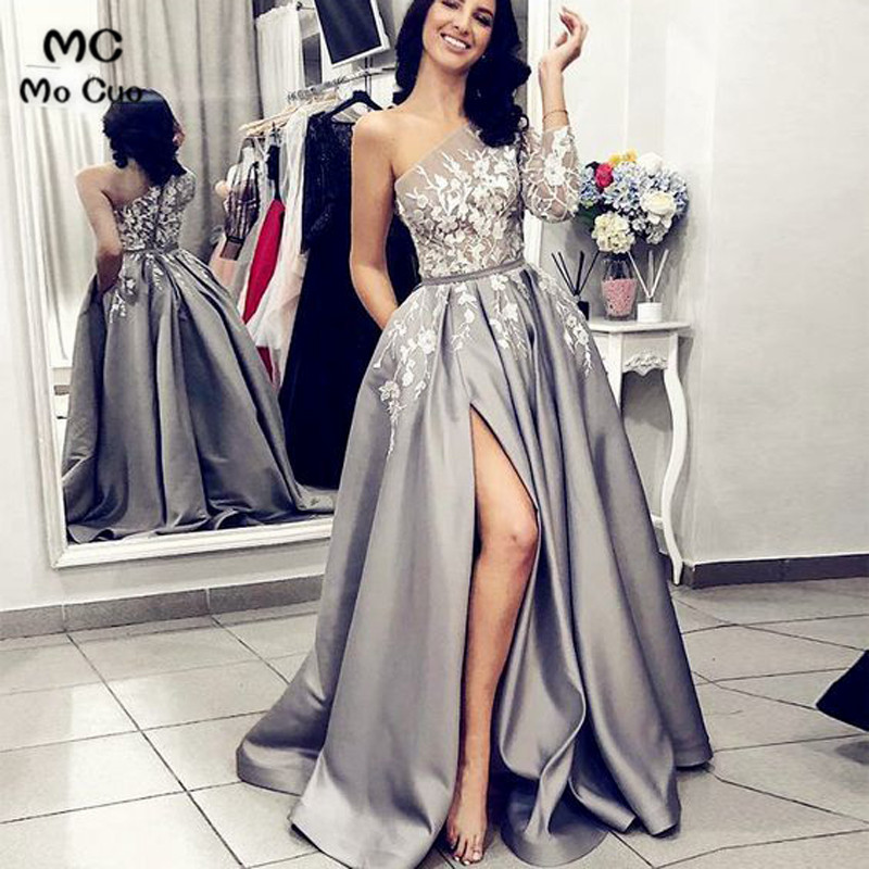 New 2019 A-Line Prom   Dresses   Long with Appliques Lace 3/4 Sleeves Front Slit Formal One Shoulder Grey   Evening     Dresses   Prom   Dress